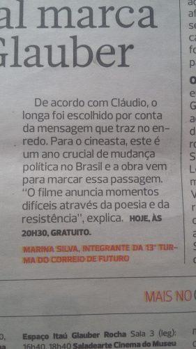 """Texto no jornal impresso com a assinatura """"Marina Silva"""""""