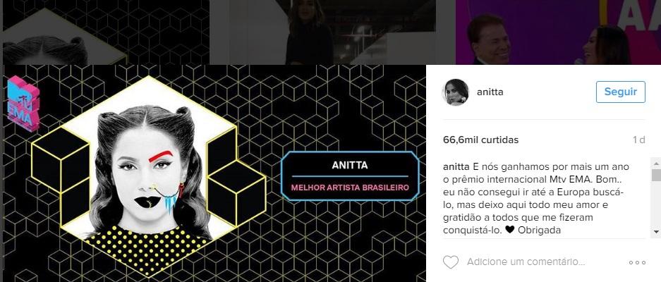 Cantora agradeceu pelas redes socias
